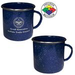 Custom 18 oz Blue Speckled Enameled Steel Cup with Polished Stainless Steel Rim