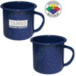 Custom 12 oz Blue Speckled Enameled Steel Cup