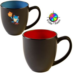 16 Oz. 2 Tone Satin Bistro Mug (Black/Red) 4 Color Process