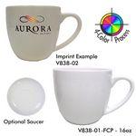 Custom 16 Oz. Bistro Cappuccino Mug, Saucer Optional - 4 Color Process (White)