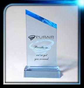 Executive Series Blue Slanted Top Award w/Base (3x5 3/4x3/4)
