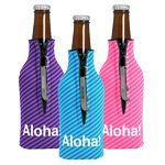 Custom Zipper Bottle Coolie Cover with 1 Color Bottle Opener (4 Color Process)