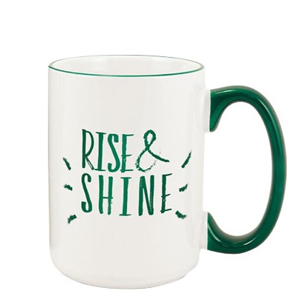 15 Oz. White Heartland El Grande Ceramic Mug w/ Green Trim
