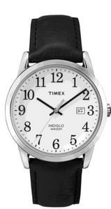 5311a8387 Timex Black Leather Strap Core Easy Reader Full Size Watch W/Silver ...