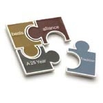 Pieces Puzzle Paperweight w/ Pewter Finish