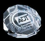 Custom Crystal Awards / Crystal Beveled Round Paperweight