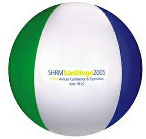 Custom Decorated Blue Green and White Alternating Color Beach Balls!