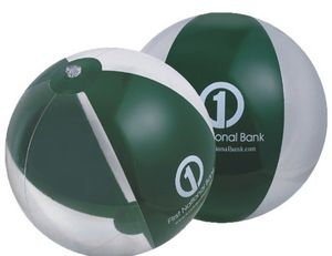 Custom Printed Translucent Forest Green and Clear Alternating Color Beach Balls