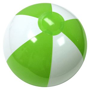 Custom Printed Lime Green and White Alternating Color Beach Balls