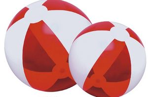 Custom Printed Translucent Red and White Alternating Color Beach Balls