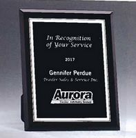"Black Glass Plaque w/Silver Border (5""x 7"")"