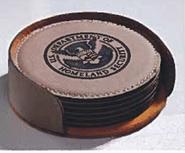 Individual Round Leather Coaster (Black)