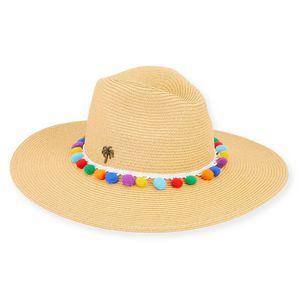 014564ee Sun 'N' Sand® Paper Braid Hat w/Pom Pom Brim 4