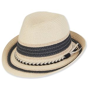 dafb79e63a1970 Sun 'N' Sand® Paper Braid Fedora w/Faux Suede - HH1644 - IdeaStage  Promotional Products