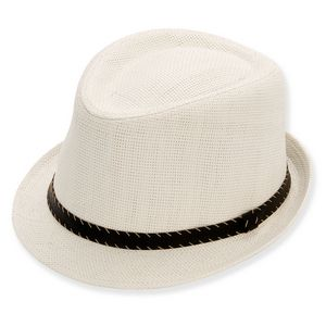 0449b22057d49 Sun  N  Sand® Honovi Paper Straw Fedora w Faux Leather Stitched Band Hat -  HH1312 - IdeaStage Promotional Products