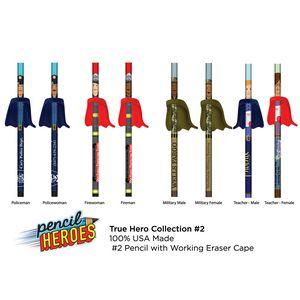 PENCIL HEROES #2 Pencils w/ Caped Eraser - Hometown Heroes