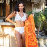Custom Promotional Loop Terry Beach Towel (White Towel, Screen Printed)