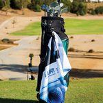 Custom Microfiber Scrubber Golf Towel - Upper Left Hook & Grommet (Printed)