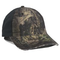 6 Panel Unstructured Camo Oil Stained Cap w/Solid Back
