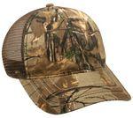 Custom Camo Brown Mesh Back Cap w/ Flag Print Undervisor