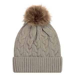Jacquard Cable Knit Toque w/12cm Faux Fur Pom Pom