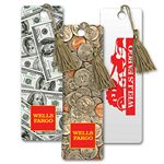 Imprinted PET Bookmark w/3D Lenticular Images of Dollars & Coins