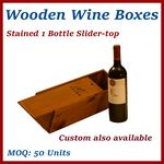 Custom Stained Single Bottle Slider-Top Wood Wine Box