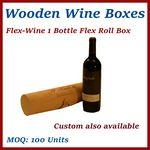 Custom Flex Roll Single Bottle Wood Wine Box