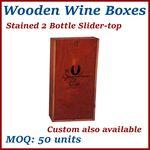 Custom Stained 2 Bottle Slider-Top Wood Wine Box