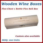 Custom Flex Roll Box Single Bottle Wood Wine Chest Box