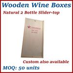 Custom Natural 2 Bottle Slider-Top Wood Wine Box