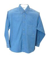 Single Pocket Men's Long Sleeve Denim Shirt