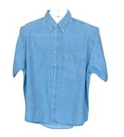 Single Pocket Men's Short Sleeve Denim Shirt