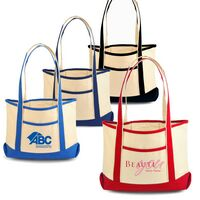 Two-Tone Cotton Boat Bag - Large
