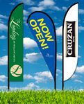 Custom Zoom 5 Feather Flag w/ Stand - 15.7ft Single Sided Graphic
