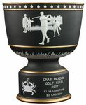 Custom Black / Gold Vintage Bowl Ceramic Golf Trophy with Raised Figures (9 1/2