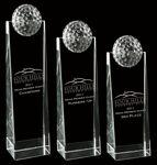 Crystal Tower Wedge Award w/ Golf Ball Topper