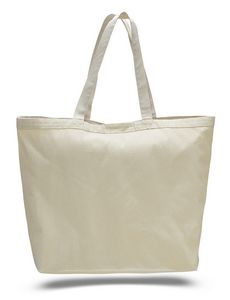 Natural Canvas Big Tote Bag w  Velcro Closure - Blank (23