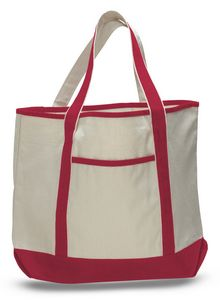 c8b53e06a61e 2 Tone Canvas Tote Bag w  Interior Zipper Pocket - Blank (22