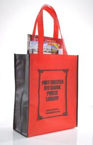Non Woven 2 Tone Tote/ Book Bag with Black Trim - Blank (11x14x5)