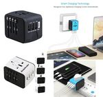 Custom iBank(R) World Travel Adapter with 3 USB Ports and 1 Type-C Port (Black)