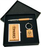 Custom Silver/Wood Finish Gift Set with Business Card Case, Pen & Keychain