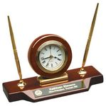 Custom Rosewood Piano Finish/Gold Desk Clock on Base with 2 Pens
