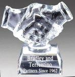 Custom Crystal Handshake Award on Clear Crystal Base, 4-1/2