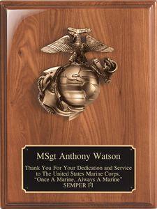 Walnut Piano Finish Plaque with Bronzed Cast Metal Marines Emblem, 9x12
