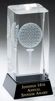 "3-D Golf Ball Image on Black Crystal Base, Small (2-1/2""x4"")"