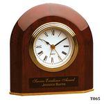 Custom Rosewood Piano Finish Beveled Arch Desk Clock, 5-1/4