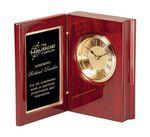 Custom Rosewood Piano Finish Book Clock w/Black Brass Plate, 5-1/2