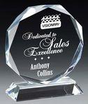 Custom Crystal Faceted Octagon Series Award on Clear Crystal Base, Small (5