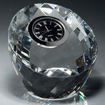 Custom Clear Round Crystal Clock Paperweight, 3-1/4